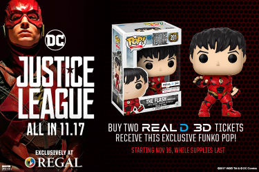 action figure insider regal cinemas announce justice league exclusive the flash funko pop. Black Bedroom Furniture Sets. Home Design Ideas